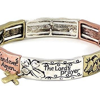 Lords Prayer Our Father Christian Stretch Bracelet Religious Jewelry