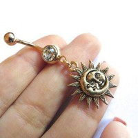ONETOW Day-First? Golden Celestial Moon And Sun Belly Button Ring Navel Jewelry
