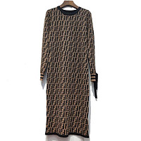 FENDI Women Fashion Bow Round Neck Maxi Dress