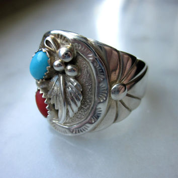 CLEARANCE solid sterling turquoise coral Native ring Southwestern mens ring sterling turquoise jewelry coral ring sterling Native American