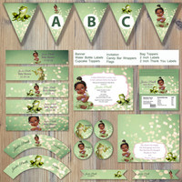 Instant Download - Princess and the Frog Green Bokeh Baby Tiana Tia Prince Naveen Editable Printable Party Package Event Invitation Template
