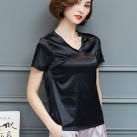2017 Summer short sleeve V neck satin T-shirts women office work black satin silk T-shirts women satin chiffon white tops