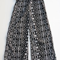 Tea Rose Geometric Black & White Print Palazzo Pants S