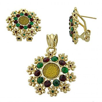 Gold Layered 10.91.0107 Earring and Pendant Adult Set, Flower Design, with Emerald and Garnet Crystal, Polished Finish, Two Tone