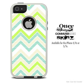 The Sharp Greens Chevron Skin For The iPhone 4-4s or 5-5s Otterbox Commuter Case