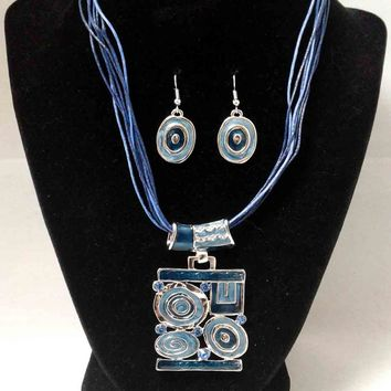 Blue Enamel Aztec Pendant and Earrings Set