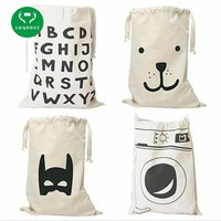 LKQBBSZ Extra large Cotton Canvas Laundry bag Canvas Storage Bag for Toys Cloth Bear Washing machine Batman Letters 8 patterns