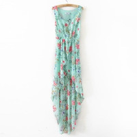 Womens Blue Bohemia Floral Sleeveless Chiffon Asymmetrical Dress = 5738860033