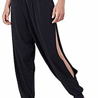 Matymats Yoga Harem Pants for Women Sports Dancing Workout Sweat Pants Side Slit