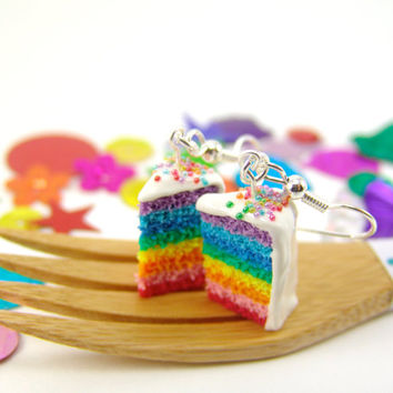 Rainbow Cake Earrings - Colorful Food Jewelry Food Earrings - MADE TO ORDER