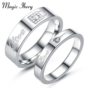 Magic Ikery New Stainless Steel Couple Ring Korean Version Key Lock Design Ring Fashion Jewelry For Women Men Gift MMR164