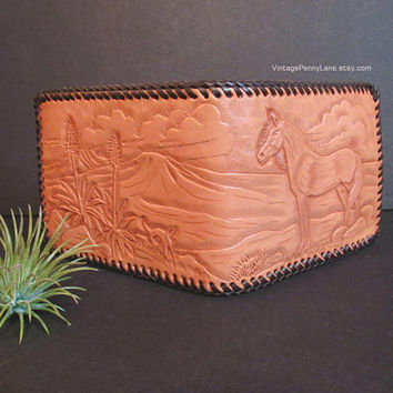 Vintage Tooled Leather Wallet, Horse / Equestrian / Country Western