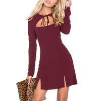 Hollow out bow bodycon dress split party sexy
