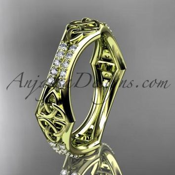 14kt yellow gold diamond celtic trinity knot wedding band, triquetra ring, engagement ring CT7353B