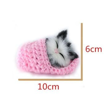 Mini Soft Sound Stuffed Animal Cat Sleeping Kitten Plush Toys 3+ Toddler Toys