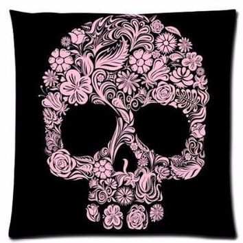 Floral Skull Pillow Cases Cover with Zipper Throw Square Pillowcases Soft Comfort Pillow Cover
