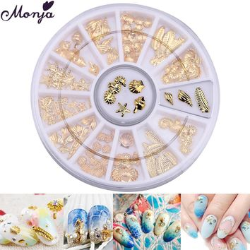 12 Grid Nail Art Ocean Animal Metal 3D Studs Beads Gel Polish DIY Sea Starfish Shells Hippocampal Slice Flakes Theme Party Decor