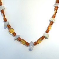 Ice Flake Quartz and Amber Glass Necklace