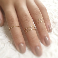 knuckle rings, 5 above the knuckle rings, midi ring set, gold midi ring set of 5, minimalist rings, wire jewelry, metal rings, gold ring set