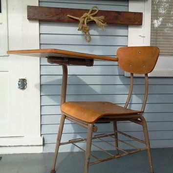 Vintage Metal & Wood School Desk and Chair, Desk, Chair