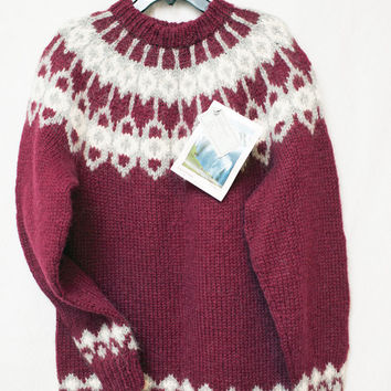 Vintage Hand knit Iceland Women's Wool Red Holiday Sweater, The Handknitting Association of Iceland, Winter Holiday Small-Med. Wool Sweater