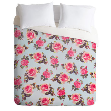 Allyson Johnson Pink Roses Duvet Cover