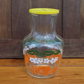Vintage Glass Handi-Serve Juice Pitcher Carafe With Plastic Lid Orange Graphic
