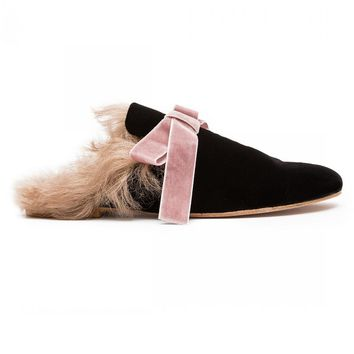 Indie Designs Black Velvet Fur-Lined Slippers