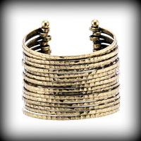MARLYN SCHIFF Antique Gold Hammered Cuff