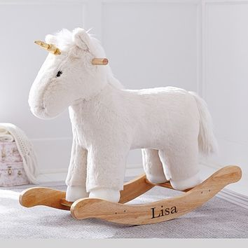 Kid Ivory Faux Fur Unicorn Rocker
