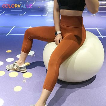 Colorvalue High Waist Seamless Fitness Capri Pants Women Anti-sweat Nylon Running Gym Tights Workout Jogger Cropped Trousers