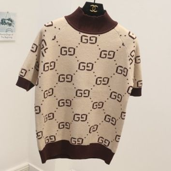 GUCCI new autumn and winter high-necked short-sleeved double g letter sweater women Apricot