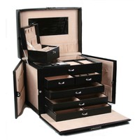 5-Drawer Black Leather Jewelry Box Travel Case with Key Lock