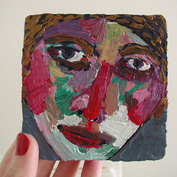 Muse - Original Contemporary Fine Art Acrylic Painting Of A Woman With A Poem Face