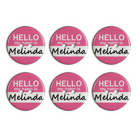 Melinda Hello My Name Is Plastic Resin Button Set of 6