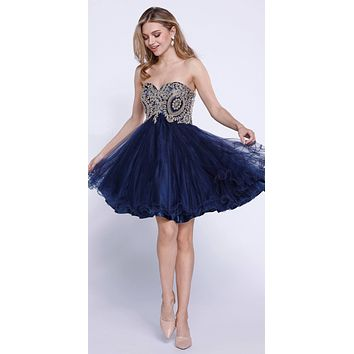 Strapless Poofy Homecoming Short Dress Appliqued Bodice Navy Blue