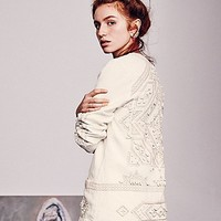 Free People Embroidered Easy Open Jacket