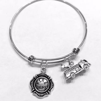 Adjustable Bangle Charm Bracelet Fire Dept Truck Engine Firefighter Gift Wife
