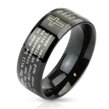 Outlined Cross and Lord's Prayer Beveled Edge Stainless Steel Black IP Band Ring