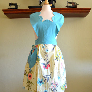 Incredible Vintage Sue Sets Full Apron, Marshall Fields, Turquoise Scalloped Bib, Yellow Polished Cotton Skirt, Birds and Flowers