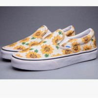DCK7YE Vans' Casual Shoes yellow sunflower low tops