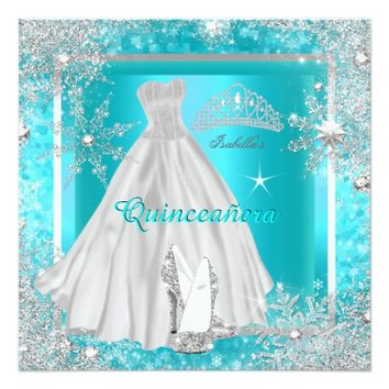 Quinceanera Elite Elegant Teal Birthday Party 5.25x5.25 Square Paper Invitation Card