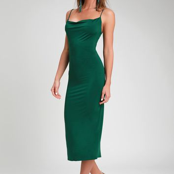 Shara Dark Green Cowl Neck Midi Slip Dress