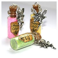 Fairy Dust Glass Vial Bottle Necklace. 11 Different colors available. Pixie Dust