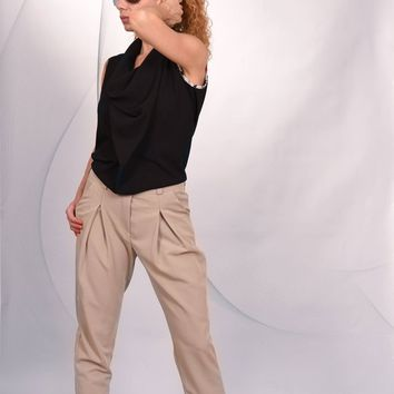 Women's Pleated Front Trousers/ Relaxed Trousers/ Pleat Front Casual Trousers