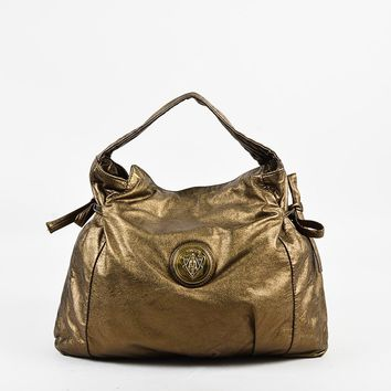 "Gucci Metallic Bronze Leather Crest Logo Side Tie Medium ""Hysteria"" Hobo Bag"