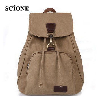 2017 brand hot sale vintage casual women canvas backpack drawstring bag schoolbag for teenagers girls bagpack knapsack ZZ291