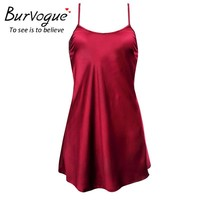 Burvogue Sexy Silk Satin Night Dress Sleeveless Nighties Nightgown Lingerie Nightdress Lace Sleepwear Nightwear For Women