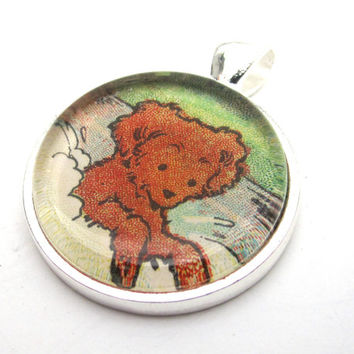Dog Illustration Pendant from Vintage Children's Book, in Glass Tile Circle