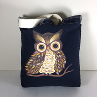 Authentic Pigment Raw Edge Tote Purse in Navy with Hand Painted Owl